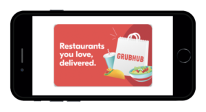 GrubHub Gift Card on smartphone